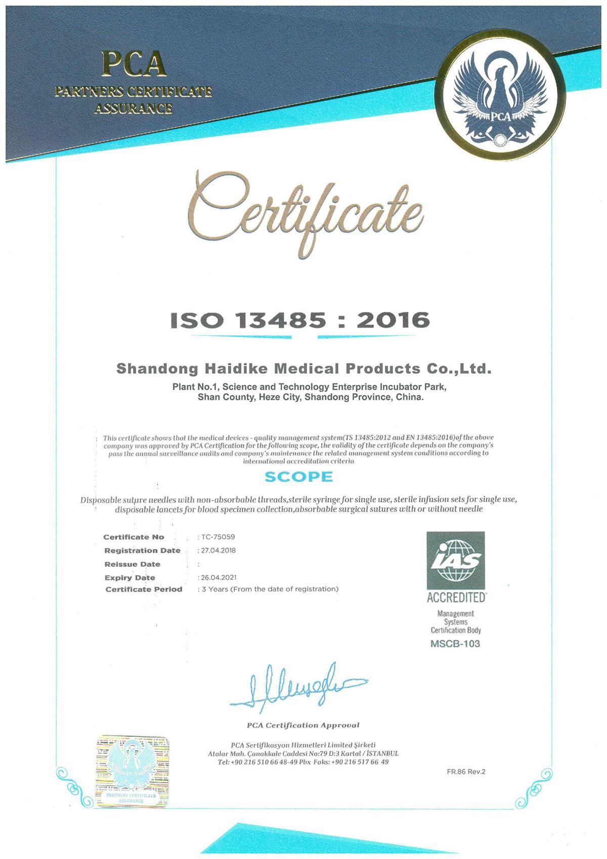 Chứng chỉ ISO kim cấy chỉ PDO BNP